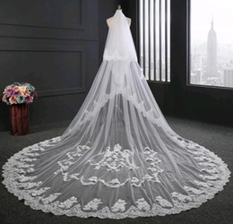 Hot Veils NZ - Hot Sell Veil for Bride Real Picture 3.5m Length 3m Width White Ivory Lace Edge Applique Wedding Accessories Bridal Veils