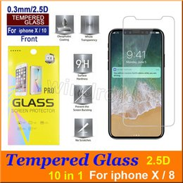 """Iphone Glass Screen Guard Australia - Tempered Glass Screen Protector Film Guard 9H Hardness Explosion Shatter Film Protector For iPhone XS XR MAX X 10 8 7 plus 6S 5.8"""" 6.5"""""""