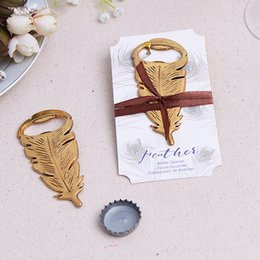"bottle opener wholesalers Australia - ""Gilded Gold"" Feather Bottle Opener Vintage Metal Beer Souvenir For Birthday Parties Wedding Favors And Gifts DHL Free Shipping"