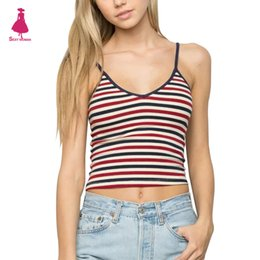 Réservoirs De Spaghetti En Gros Pas Cher-Grossiste-Sexy Striped Slim Midriff-baring ajustement Tight Camis Spaghetti Strap V-Cou Crop Tank Backless Brandy Melville Femmes Short Tees Tops