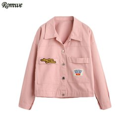 Barato Casaco Rosa Curto-Atacado- ROMWE Womens Autumn Short Jackets New Fashion Ladies Pink Bordado Patch Lapel Long Sleeve Button Front Jacket