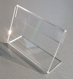 plastic table display stands Canada - Various Smaller Size T2mm Clear Acrylic Plastic Sign Display Paper Label Card Price Tag Holder L Shaped Stand Horizontal On Table 10pcs