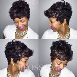 Discount wigs human hair short style - Curly Brazilian Hair Wigs Short Human Hair Wigs For Black Women Rihanna Style Brazilian Human Hair Lace Wigs