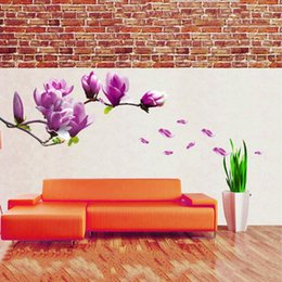 Tv Wall Decor Arts Canada - Exquisite Fashion Magnolia Flowers Removable Art Vinyl Mural Home Room Decor Wall Stickers Backdrop TV