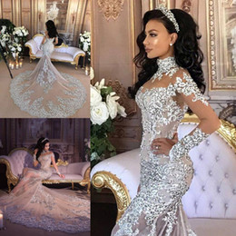 Barato Vestidos Nupciais Da Luva Do Laço-Gorgeous Mermaid Wedding Dresses Lace Appliques Sheer High Neck Vestidos de Noiva com Long Sleeve Appliques Crystal Wedding Dress