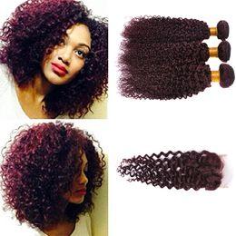 $enCountryForm.capitalKeyWord Australia - Burgundy Lace Closure Curly Wave Brazilian Human Hair Wine Red Raw Curly Ocean Wave 99j Hair Extension Weave Wavy Bundles With Closure