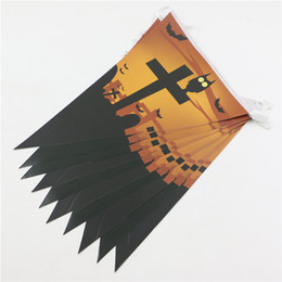 Halloween Photo Props Canada - Wholesale- 1pc Halloween Decoration pennant bunting Party Decoration Photo Prop Cross banner flag halloween garland 2.5meters