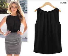 $enCountryForm.capitalKeyWord Canada - Wholesale 2017 Fashion Summer Women Cheap Plus Size Sleeveless Chiffon Shirt Black White Woman Casual Vest Blouse T-shirt