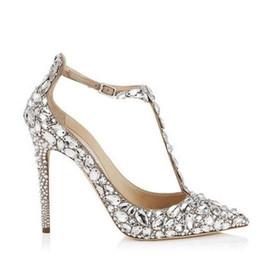 $enCountryForm.capitalKeyWord UK - Elegant Diamond Wedding Pumps Thin High Heels Gladiator Sandals Women Rhinestone Crystal Embellished T-Strap Summer Party Shoes