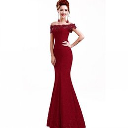 Chinese  2018 Cheap Red Elegant Long Evening Dresses Party Dresses Mermaid Off-Shoulder Boat-Neck Embroidery Lace Evening Dress Vestido De CPS199 manufacturers