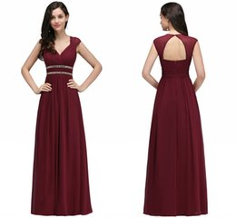 China Under $45 Burgundy Bridesmaid Dresses Cheap Long Chiffon Beach A Line Bridesmaid Gowns with Crystal Flow Wedding Guest Dresses Robe cheap long flowing summer dresses chiffon suppliers