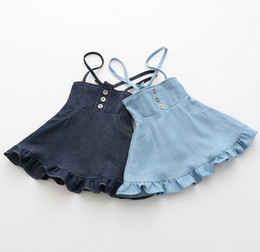 Robes Antidérapantes Pour Filles Pas Cher-New Summer Baby Girls Denim Slip Robe Kids Ruffles Cute Strap Jeans Jupe Enfants Suspender Robes