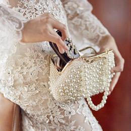 Venta al por mayor de Impresionantes bolsos de mano nupcial Perlas Accesorios de boda Bolsos de novia