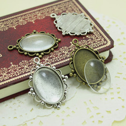 alloy cameo settings NZ - Sweet Bell 10 set Antique Silver Metal Alloy Cameo Flower 18*25mm Oval Pendant Cabochon Settings + Clear Glass Cabochons D003