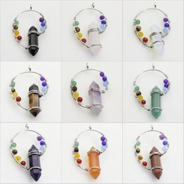 Charms Wire Wrapping Australia - Natural Gemstone Amethyst Quartz 7 Chakra Healing Wire Wrap Pendant Fit Necklace