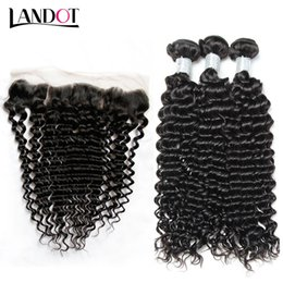 Ombre jerry hair online shopping - Brazilian Virgin Hair Weaves With Lace Frontal Closure Bundles Peruvian Indian Malaysian Cambodian Deep Jerry Curly Human Hair Closures
