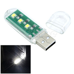 Discount disk lamp - Wholesale- Portable Keychain USB Power 3 LED White Night Light U Disk Shape Lamp w  Cover -R179 Drop Shipping
