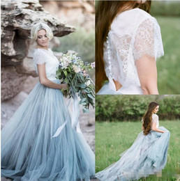 Manches Transparentes Bleu Pas Cher-2017 Fairy Beach Boho Lace Robes de mariée à col haut A Line Soft Tulle Cap Sleeves Backless Bleu clair Jupes Plus Size Bohemian Noel Gown