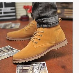 nubuck suede shoes for men 2019 - 2017 England Men Boots Shoes Suede Lace-Up Man Martin Boots Round Toe Mens Single Male Shoes Joker Ankle Boots For Men R