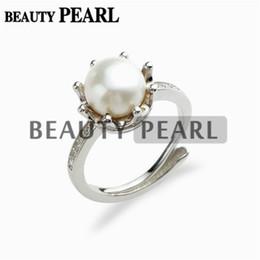 Zespoły ślubne Pearl Pierścień White Słodkowodne Pearl Cubic Cyrkonia 925 Sterling Silver Crown Pierścień Bridal Biżuteria