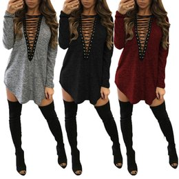 Barato Camisas De Pescoço Para Barato-Deep V-Neck Lace Up Shirts Vestidos para mulheres Casual Party Dress Atacado Cheap DHL Fast Shipping