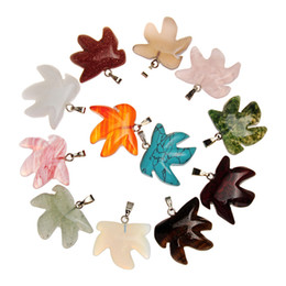 leaf charms Australia - Gem Avenue Iridescent Opal Tiger Eye Aventurine Jasper Beads Real Nature Stones Carved Maple Leaf Leaves Charms Jewelry Findings &Components