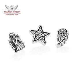$enCountryForm.capitalKeyWord Canada - Memnon Jewelry Charming petite angel and angel wing floating lock Charm 925 sterling silver twinkling star charms fit Necklace DIY BE405