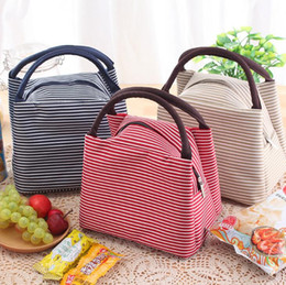 Discount shipping cooler boxes - Striped Insulated Lunch Box Bag Handbag Canvas Thermal Insulated Bag Lunch Cooler Bag for Kids DHL free shipping