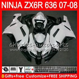 Red black kawasaki zx6R online shopping - 8Gifts Colors Bodywork For KAWASAKI NINJA ZX636 ZX6R CC HM10 ZX ZX R Pearl White ZX ZX R Fairing kit