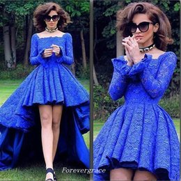 cheap coloured lighting NZ - Royal Blue Colour Square Neck Long Sleeve Prom Dress High Low Lace Garden Dubai Women Wear Special Occasion Cheap Party Dress Plus Size