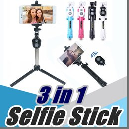 Wholesale 2017 Non slip Super Bluetooth control selfie stick with tripod Handheld Extendable Monopod Built in Bluetooth Shutter New offer