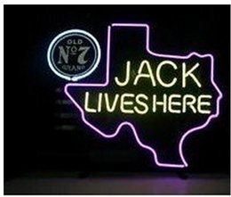 Chinese  Fashion New Handcraft Jack Lives Here TEXASOLD OLD #7 WHISKEY Real Glass Beer Bar Display neon sign 19x15!!!Best Offer! manufacturers