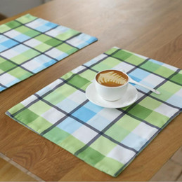 modern coasters Australia - waterproof canvas fabric placemats green and blue plaid drink tea cup coaster rectangle table mat desk accessories