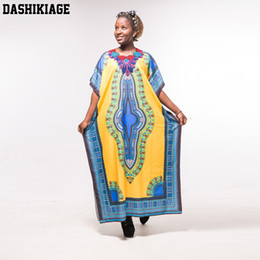 Robes Jaune Maxi Boho Pas Cher-Dashikiage Fashion femmes traditionnelles africaines impression plage jaune bleu Dashiki Boho Maxi longue robe