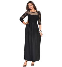 d5fd551359f420 Kleider schwarze ärmel transparent online-Frau Knöchellänge Sexy Kleid  schwarz Spitze Transparent Vestido Reißverschluss Mesh