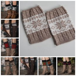 Flores De Punto De Ganchillo Baratos-Chica Crochet Knit Lace Trim Toppers Boot Cuffs Calentadores de piernas Calcetines de invierno Crochet Boots Knitting Flower Winter Warm Leg KKA3269