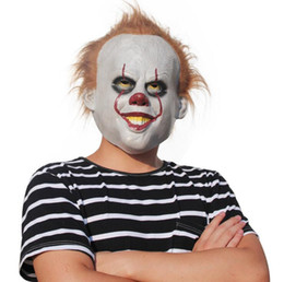 China Stephen King's Movie It Mask Pennywise Horror Clown Joker Mask Handmade Halloween Cosplay Costume Stephen King IT Costume 50pcs OOA3104 cheap clown cosplay suppliers