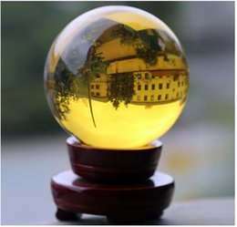 Stands For Crystal Balls Canada - 150mm +Wooden stand HOT Sell Huge Yellow Crystal Healing Round Ball Crystal Ball Sphere For Home Decor Free Shipping