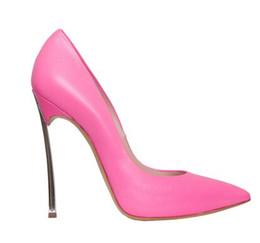 Chinese  zapatos mujer women metal high heels pink white black pumps pointed toe stilettos orange beige blade heeled wedding dress bride pumps manufacturers