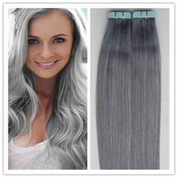 grey hair extensions sale 2019 - Wholesale- Tape In Human Hai Extensions 40pcs lot Grey Remy Brazilian Virgin Straight Hair PU skin Weft Tape Hair Extens