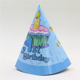 theme party supplies wholesale 2018 - Wholesale-8 pcs lot boy favor cartoon theme 1st birthday party hat with string blue cone paper hat enent & party supplie