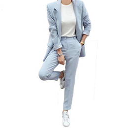 Опт Newarrival осень Winte женщин блейзер брюки костюмы мода сплошной цвет костюм офис леди длинные куртки длинные брюки 2 шт. наборы