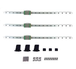 Vente en gros Freeshipping 3D Printer Parts 3pcs / lot Delta HIWIN Rail linéaire 460mm Longueur avec bloc coulissant de haute qualité