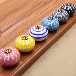 furniture handle ceramic Australia - New Black White Pink Gray Blue Yellow Flower art kids ceramic solid single door handles pull cabinet drawer knob furniture carving#493