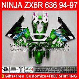 $enCountryForm.capitalKeyWord Australia - 8Gifts 23Colors For KAWASAKI NINJA ZX6R 94 95 96 97 600CC ZX-6R green white 33NO76 ZX636 ZX 636 ZX 6R ZX600 1994 1995 1996 1997 Fairing kit