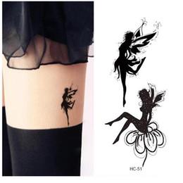 Sexy women tattoo deSignS online shopping - Waterproof Fake Tattoo Women Leg Chest Sexy Temporary Sticker Fluttering Angel Fairy Girl Design Scar Cover Fast Tattoo