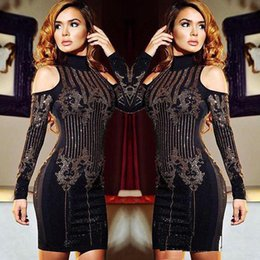 Vêtements De Sport Pour Femmes Pas Cher-Femmes Sexy Clubwear Party Dress 2017 Elegant Hot Drilling Bodycon Party Dress Femmes Full Sleeve Femmes Casual Bureau Mini Dress