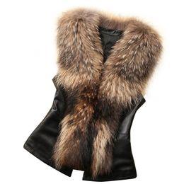 Body Warmer Coats Canada - Faux Fur Parka Womens Faux Fur Vest Croped Jacket Sleeveless Winter Body Warm Coat Waistcoat Gilet Colete De Pele Falso #21