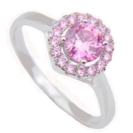 Valentine Ring Gifts Canada - 3PCS LOT Valentine Gift Fire Pink Kunzite Cubic Zirconia Crystal Gemstone Russia 925 Sterling Silver Plated Weddiing Ring