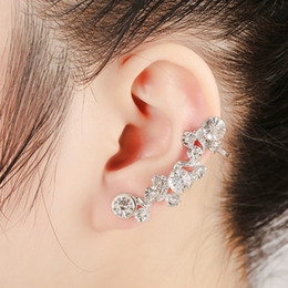 gold leaves Canada - hot sale Women Fashion luxury earrings gold Color Full Rhinestone Crystal Flower Alloy Vine Ear Cuff Earrings only for left ear